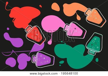 Vector graphic commercial design with splashes of manicure polishes made in simple flat geometric style