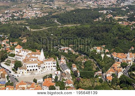 Aerial view of the area of the National palace of Sintra in Lisbon Portugal