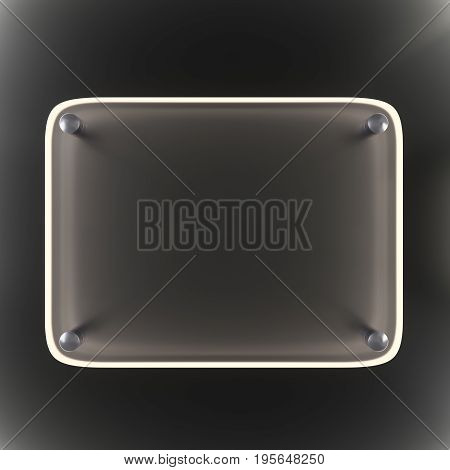 Empty glass plate with glowing edges on a dark background. Metal fasteners. 3d illustration
