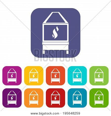 Blacksmith oven with flame fire icons set vector illustration in flat style In colors red, blue, green and other