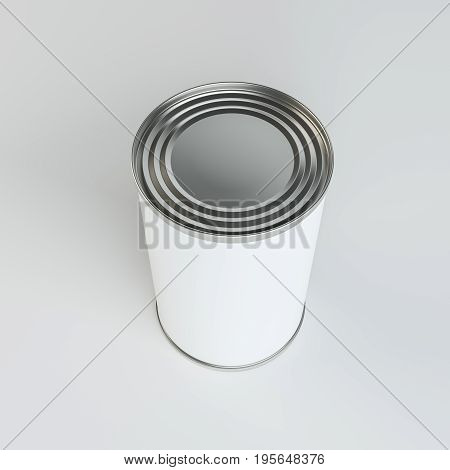 Metal tin can with white paper label on gray background. 3d illustration. Top view