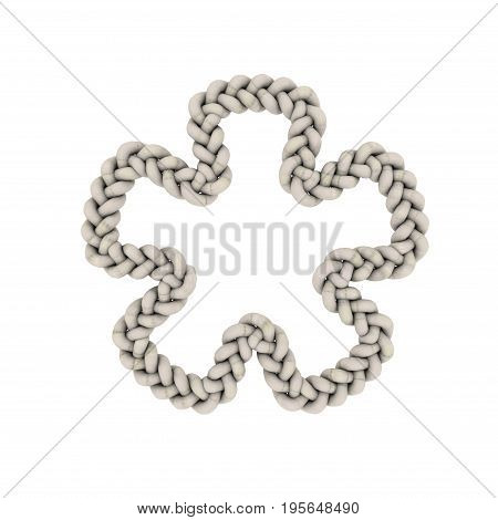 Braided frame in form of flower. Isolated on white background.3D rendering illustration.