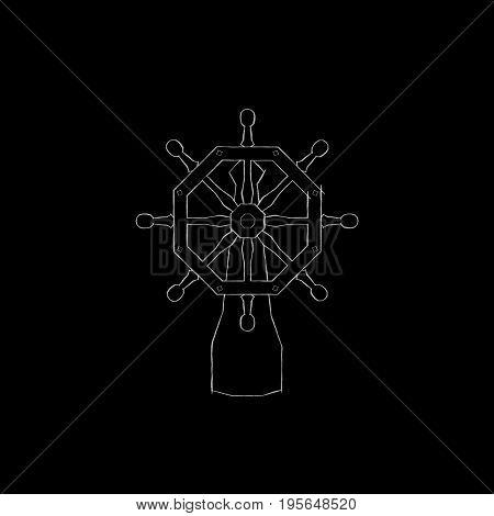 Ship helm. Isolated on black background. Sketch illustration.