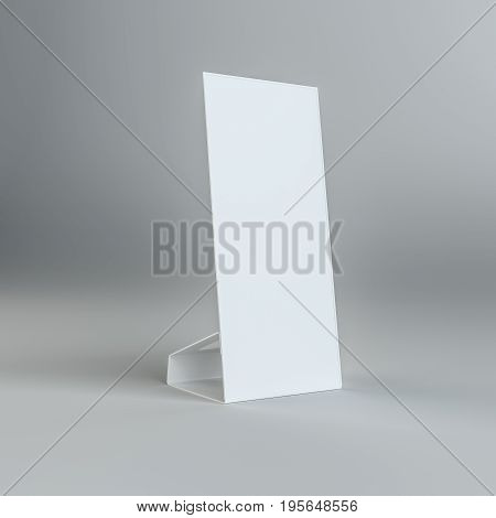 Blank paper table card on on grey background. Template mock-up ready for design. 3D Illustration