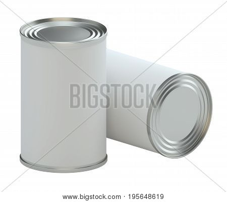 Metal tin can with white paper label, isolated on white background. 3d illustration. Mockup template ready for your design