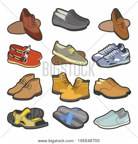 Men shoes types flat footwear icons of casual business sneakers, sport boots or rubber clogs and man sandals or fashion flip-flops. Vector isolated set
