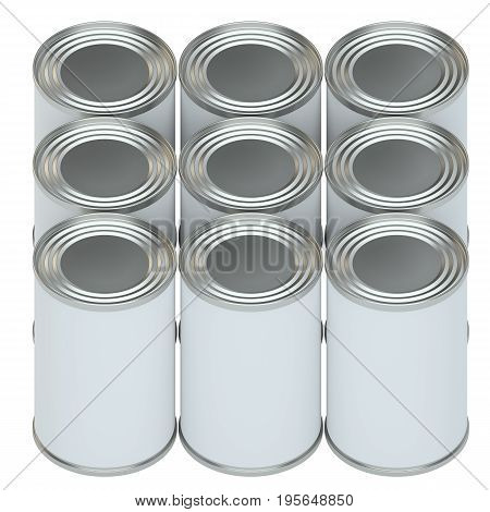 Group of metal tin cans with white paper labels. 3d illustration. Mockup template ready for your design