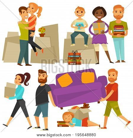 Home move or family people moving in to new apartment house. Man or woman with children, loader carry sofa furniture and box packages with books or appliances. Vector flat icons set