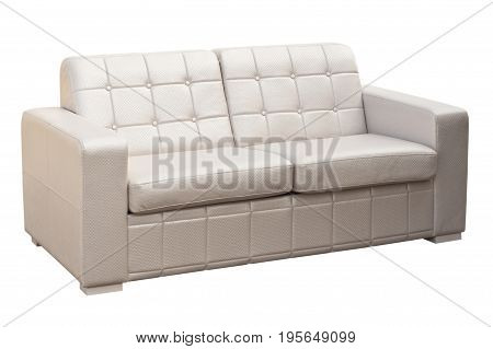 White sofa isolated on a white background. White sofa isolated on white include clipping path.