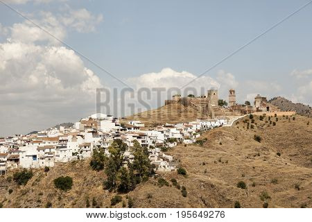 Typical whitewashed andalusian village Alora. Province of Malaga Spain