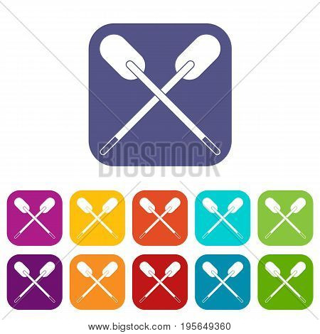 Two wooden crossed oars icons set vector illustration in flat style In colors red, blue, green and other