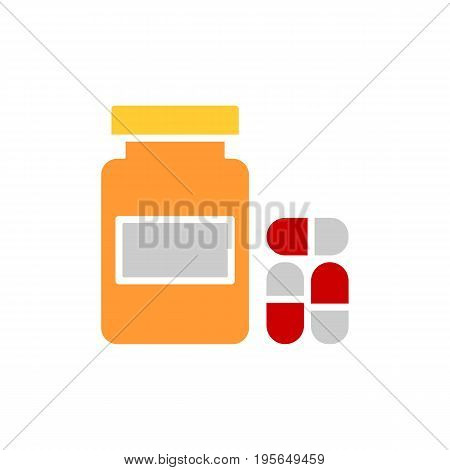 Pills, capsules and medicine bottle Icon in trendy flat style isolated on white background. Tablet symbol for your web site design, logo, app, UI. Vector illustration, EPS10.