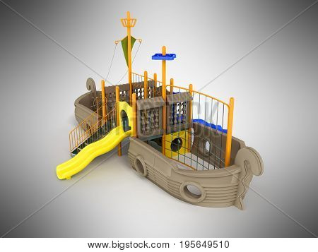 Playground For Children Ship Light Brown Pale Yellow Yellow 3D Rendering On Gray Background