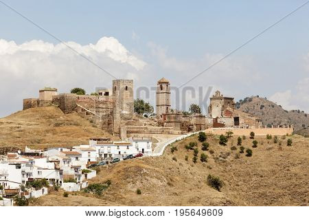 Medieval castle at the andalusian village Alora. Province of Malaga Spain