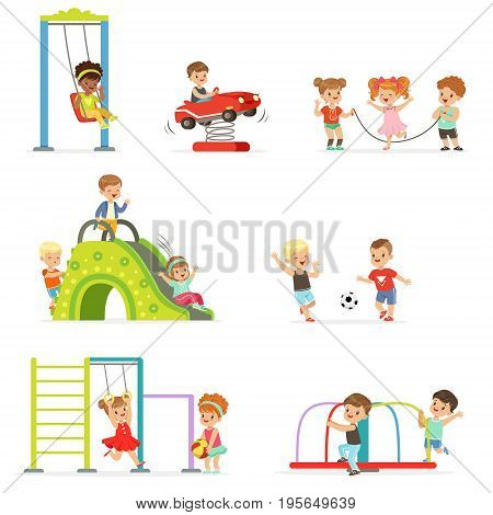Cute cartoon little kids playing and having fun at the playground set of vector Illustrations isolated on white background