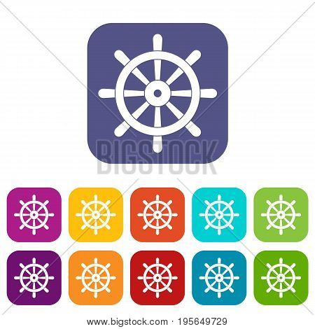 Wooden ship wheel icons set vector illustration in flat style In colors red, blue, green and other