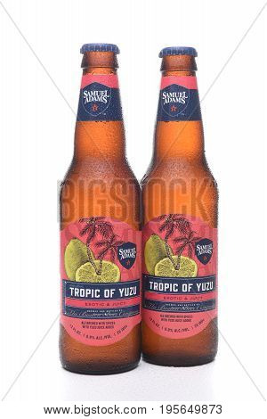 IRVINE CA - JULY 16 2017: Samuel Adams Tropic of Yuzu two bottles. From the Boston Beer Company. Based on sales in 2016 it is the second largest craft brewery in the U.S.