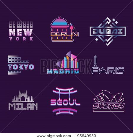 World cities labels set, logo graphic templates vector Illustrations on a putple background