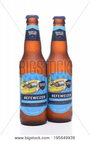 IRVINE CA - JULY 16 2017: Samuel Adams Hefeweizen two bottles. From the Boston Beer Company. Based on sales in 2016 it is the second largest craft brewery in the U.S.