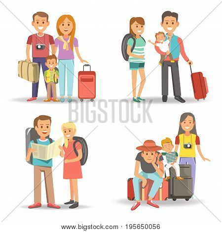 Traveling family with children on summer holiday tourism vacations. Mother, father and child travel with suitcase or backpack and tourist map or photo camera. Vector isolated flat icons set