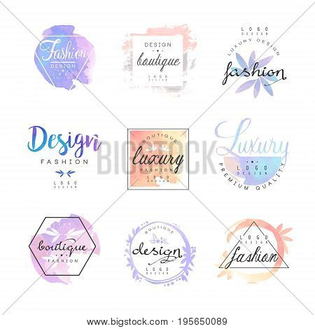 Fashion luxury boutique logo design set. Colorful vector Illustrations for business sign, identity for beauty, fashion or cosmetic center, salon, shop,