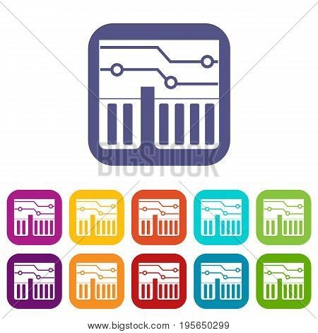 Computer chipset icons set vector illustration in flat style In colors red, blue, green and other