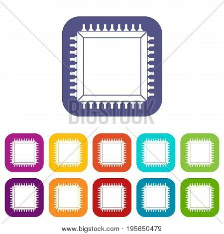 Computer microchip icons set vector illustration in flat style In colors red, blue, green and other