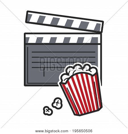 Popcorn and cinema movie clapper symbol for USA Hollywood or American cinematography culture and America tourist travel attractions. Vector flat outline icon