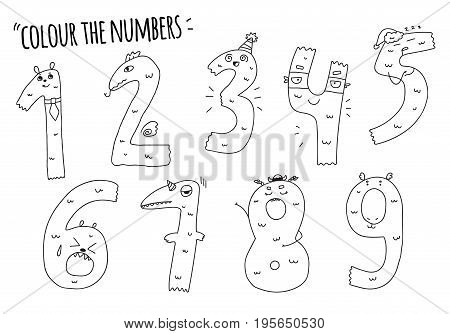 Set of hand drawn numbers isolated on white numbers for your designs coloring book