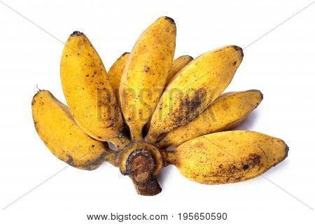 Ripe bananas isolated on a white background.