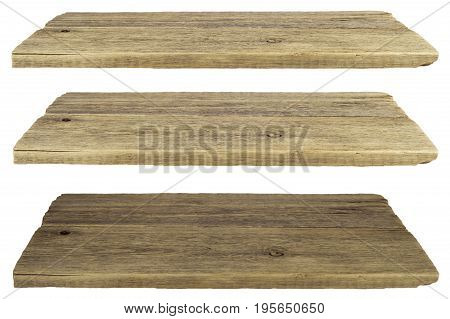 Wooden shelves isolated on white. Selective focus.