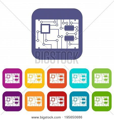 Electronic board icons set vector illustration in flat style In colors red, blue, green and other