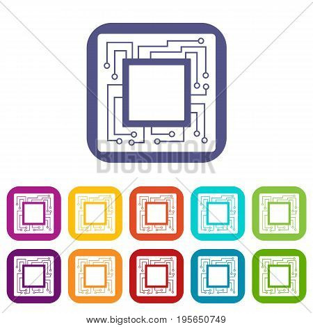 Microchip icons set vector illustration in flat style In colors red, blue, green and other