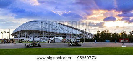 Sochi Adler Russia - November 1 2015: Fisht Olympic stadium built for XXII Sochi winter Olympic games 2013. Reconstruction of Stadium Fisht for Confederations Cup 2017 & FIFA world Cup football 2018