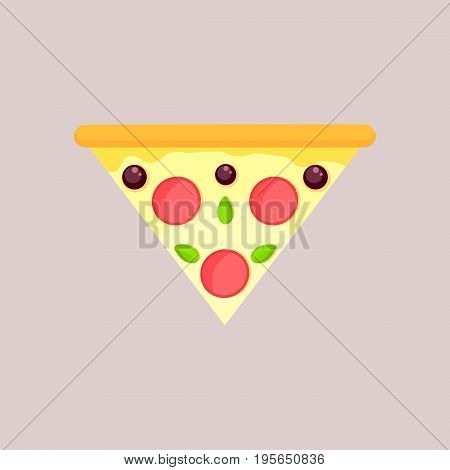 Triangular slice of cheese pizza with olivebasil and pepperoni. Flat slice top view isolated on a gray background.
