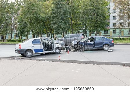 Orel, Russia - September 27, 2016: Site of a traffic accident, road accident, collision of two cars