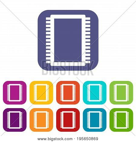 Computer electronic circuit board icons set vector illustration in flat style In colors red, blue, green and other