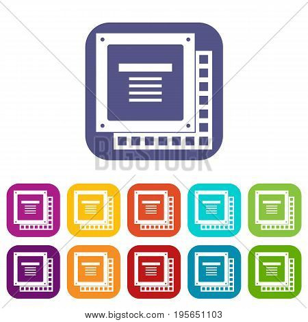 Computer CPU processor chip icons set vector illustration in flat style In colors red, blue, green and other