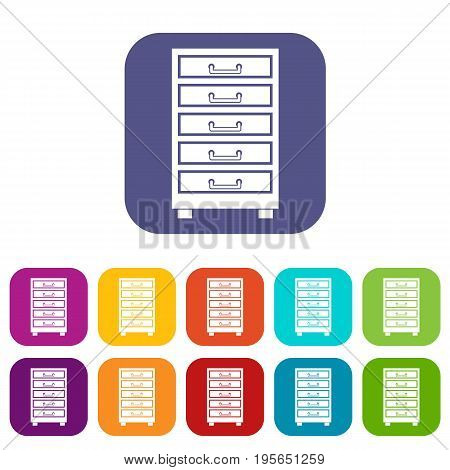 Wooden cabinet with drawers icons set vector illustration in flat style In colors red, blue, green and other