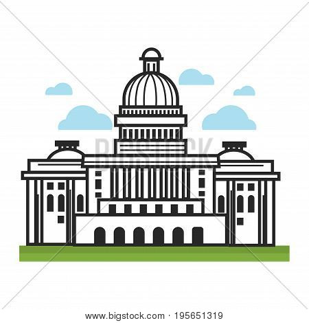 White House or Capitol symbol for USA travel landmarks or America famous tourist attraction. President architecture building in New York or Washington capital vector flat outline icon