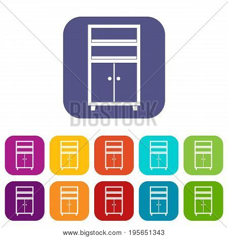 Wooden cabinet icons set vector illustration in flat style In colors red, blue, green and other