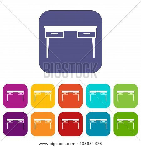 Wooden table icons set vector illustration in flat style In colors red, blue, green and other
