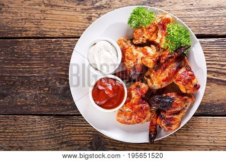 Plate Of Fried Chicken Wings, Top View