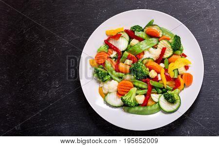 Plate Of Stir Fry Vegetables, Top View