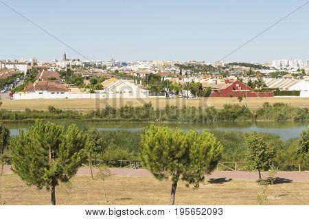 Jerez de la Frontera, Cadiz province, Andalucia,  southern Spain, photo taken towards the lagoon of Torrox. Photo taken on July 1, 2017