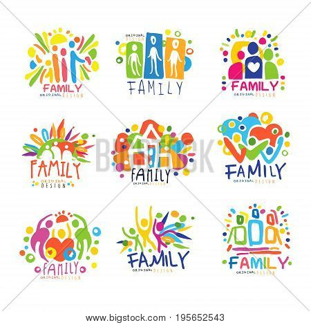 Family colorful labels original design, set of logo graphic templates hand drawn vector Illustrations