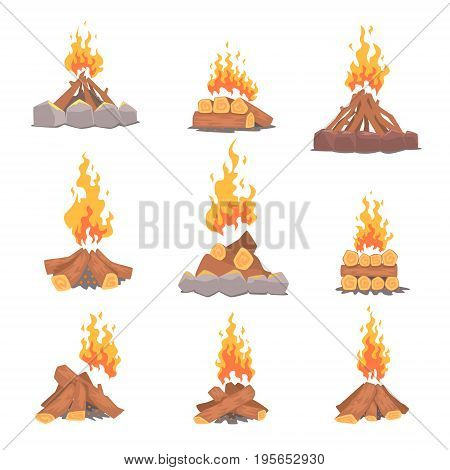 Cartoon types of tourist tcampfires set of vector Illustrations isolated on white background