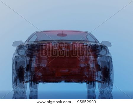 Model cars on a blue background.,3d render