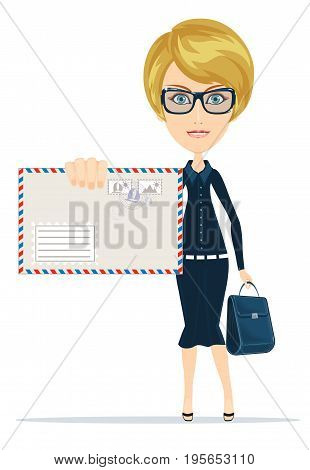 Woman in formal suit holding an envelope with a letter. Stock flat vector illustration.