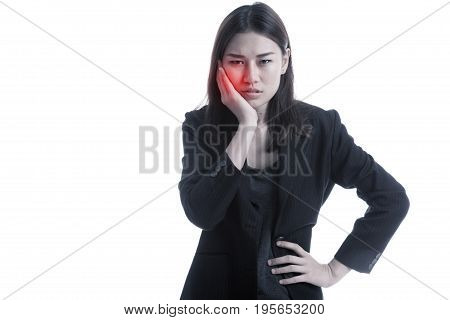 Young Asian Business Woman Got Toothache.
